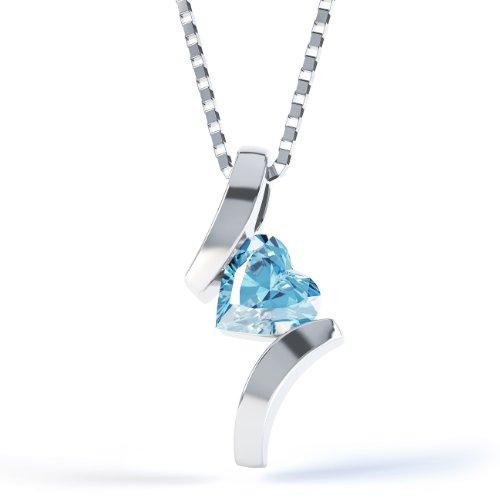 Jian London Blau Topas Herz Crossover &Kette Silber Anhänger
