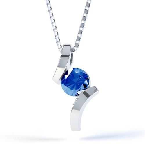 Jian London Blauer Saphir, rund, silberfarben, Anhänger mit Kette &