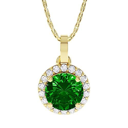 Jian London Halskette mit rundem Anhänger, 1,16 ct Smaragd- und Stardust-Diamantersatz, vergoldetes Sterlingsilber (925)