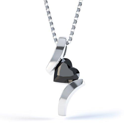 Jian London Kettenanhänger Herz Silber Anhänger Onyx Crossover &Kette