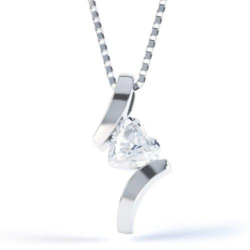 Jian London Kettenanhänger Herz Silber Weißtopas Crossover &Anhänger Kette