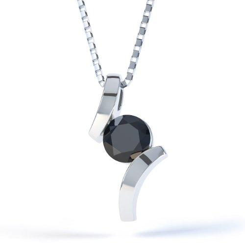 Jian London Kettenanhänger Sterling-Silber 925 Onyx Rund Anhänger &Kette