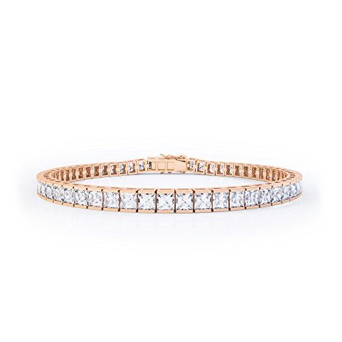 Jian London Princess-Diamant-Armband, künstlicher Diamant, 18K Rotgold-Vermeil, Tennisarmband, 17,8cm