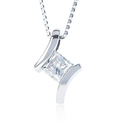 Jian London, weißer, quadratischer Topas Crossover & Anhänger Silber Kette
