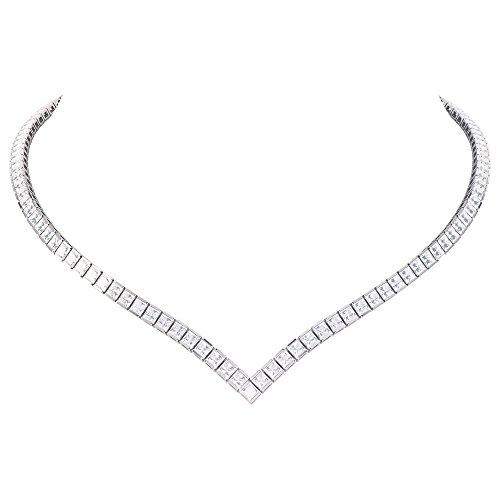 Prinzessin Diamant Silber Tennis Halskette (weiß gold)