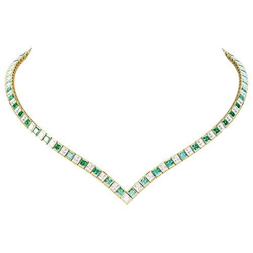 Prinzessin Smaragd und Diamant Silber Tennis Halskette (Gold)