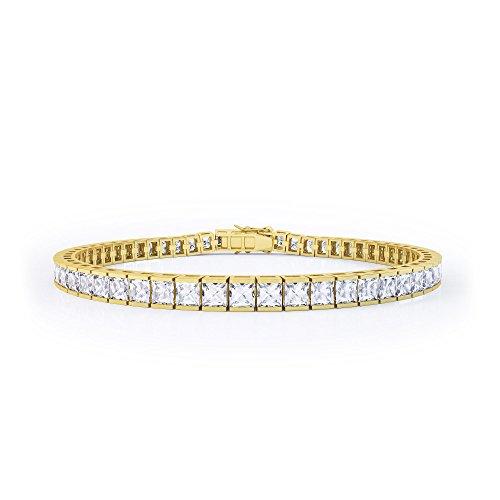 Prinzessin Weiß Silber Saphir Tennis Armband (17,8cm gold)