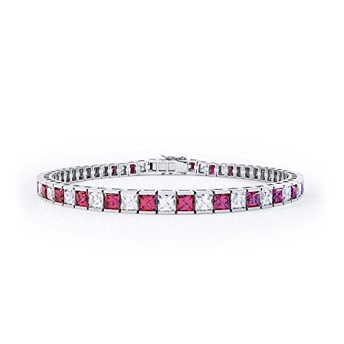 Prizess-Schliff Rubin und Diamant Damen-Armband - Silber - Weißgold