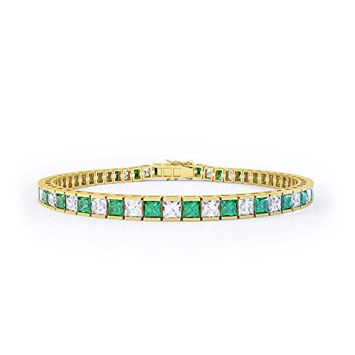 Prizess-Schliff Smaragd und Diamant Damen-Armband - 17,5cm - Silber - Gelbgold