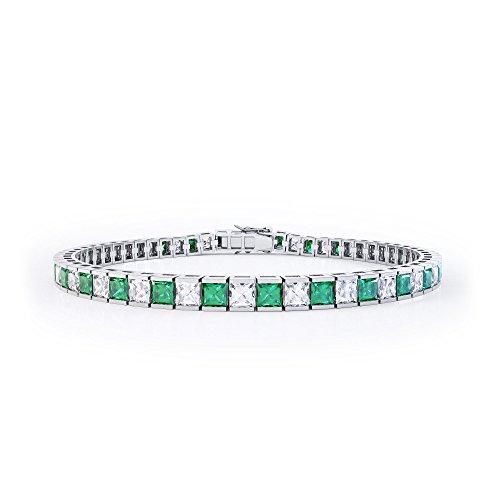 Prizess-Schliff Smaragd und Diamant Damen-Armband - Silber - Weißgold