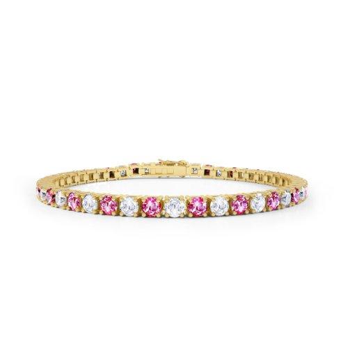 Stardust Rosa Saphir und Diamant Damen-Armband - 17,5cm - Silber - Gelbgold