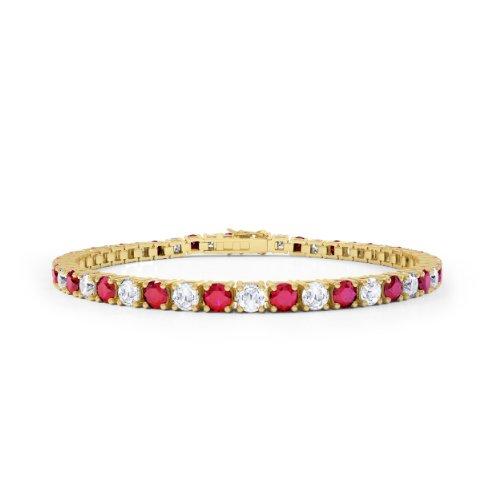 Stardust Rubin und Diamant Damen-Armband - Silber - Gelbgold