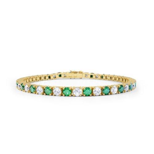 Stardust Smaragd und Diamant Damen-Armband - 16,5cm - Silber - Gelbgold