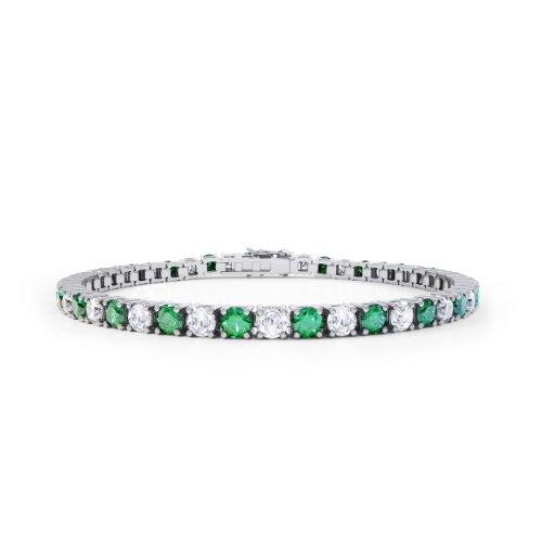Stardust Smaragd und Diamant Damen-Armband - Silber - Weißgold
