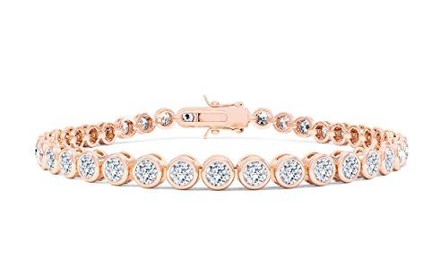 Tennis-Armband, mit Diamanten besetzt in schier endloser Reihe, 18 Karat Rotgold,  17,8 cm - Rotgold und Purpurrot
