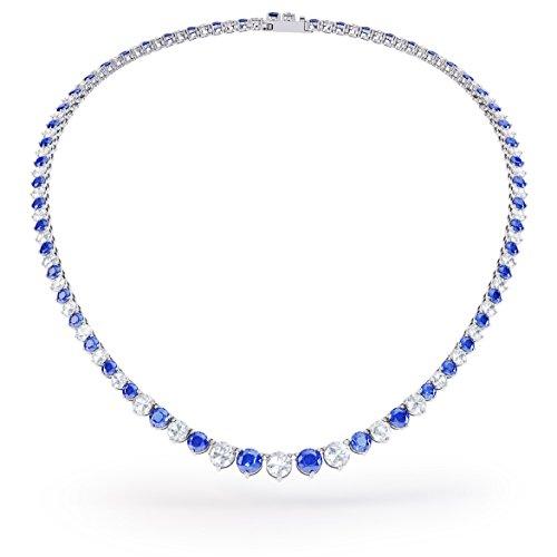 Tennis-Halskette Eternity, mit blauen und weißen Saphiren, Silber, 40,4 bis 48,2cm, Weiß-Gold