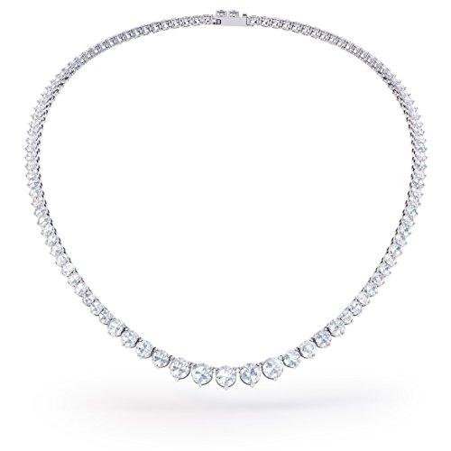 Tennis-Halskette, Saphir-Silber, 40,4 bis 48,2cm in Weißgold