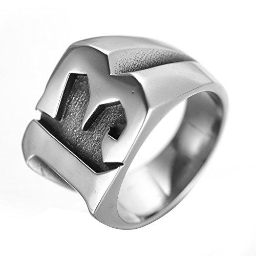 ALEXTINA Herren Edelstahl Glücklich Nummer 13 Biker Ring Schwarz Gold Silber Ring Hoch Poliert