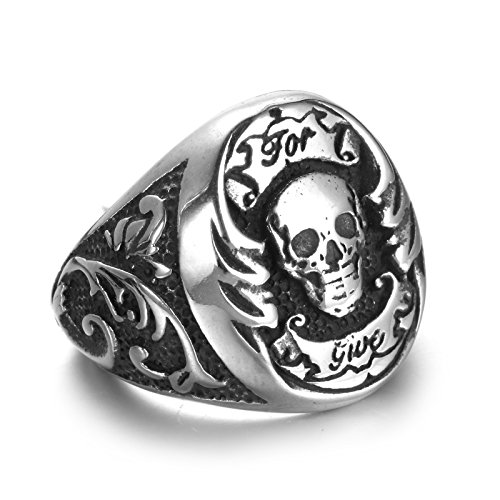Aeici Herrenring Edelstahl Ringe für Männer Das Skelettmuster