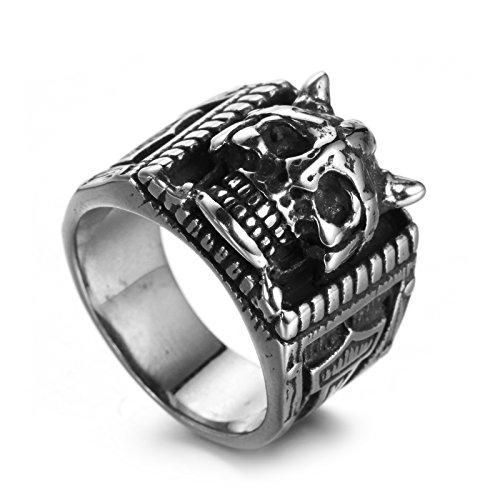 Aeici Herrenring Edelstahl Ringe für Männer Der Schädel