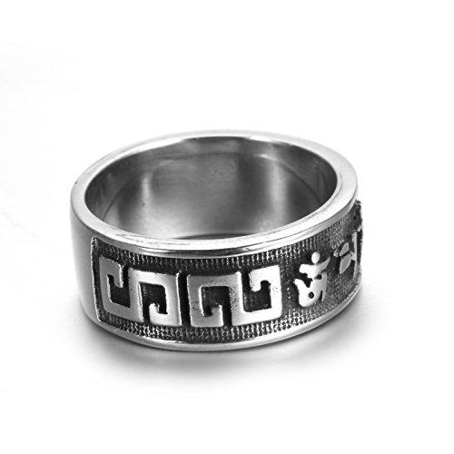 Aeici Herrenring Edelstahl Ringe für Männer Om Mani Padme Summen