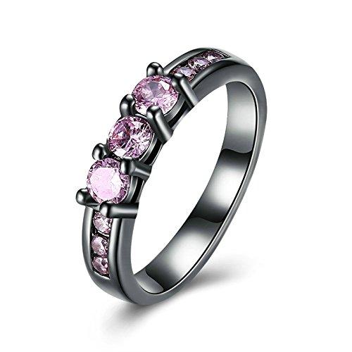 Aeici Jubiläumsring für Frauen Vergoldet Kreis Ringe Pink