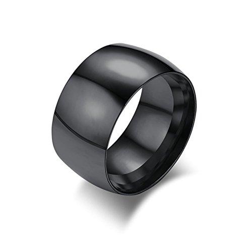 AieniD Hochzeit Band Verlobung Ring Edelstahl Männer Rings Runden Breite:11.5MM