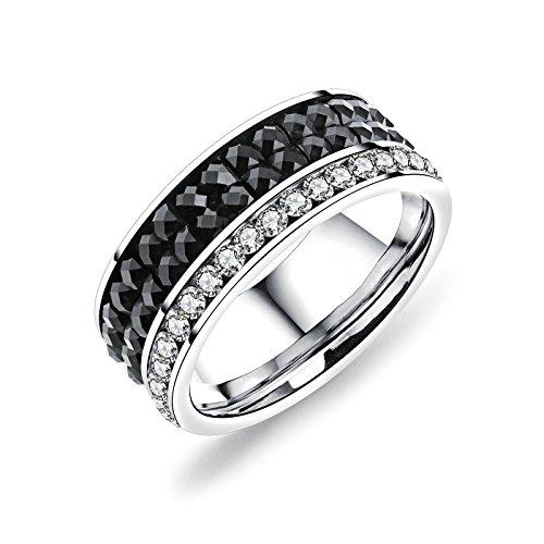 AieniD Hochzeitsring Titan Ring For Herren Drei Reihe ZirkonVertrauensring Verlobungsring
