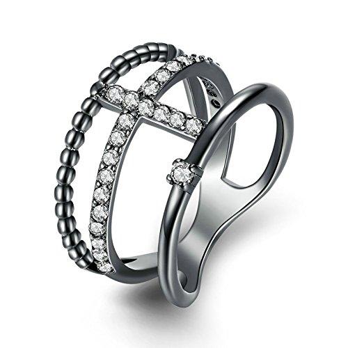 AieniD Schmuck Gold-Überzogen-Base Verlobungsring für Damen Hochzeitsring Zylindrical