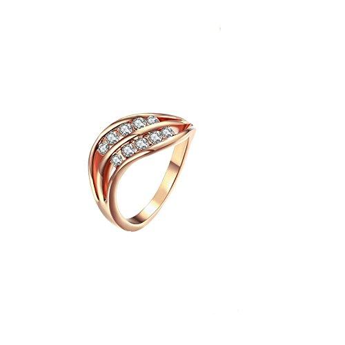 Aienid Edelstahl Hochzeitsring zum Damen Wellen Rose Gold