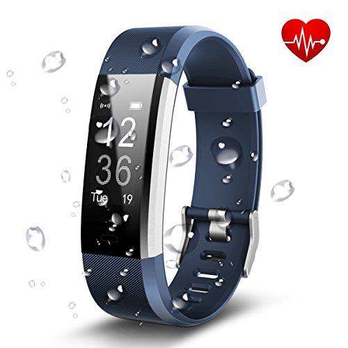 Antimi Fitness Armband, Wasserdicht IP67 Fitness Tracker, Pulsuhren, Schrittzähler, Musik-Player und Kamerasteuerung, Vibrationsalarm Anruf SMS Whatsapp Beachten kompatibel mit iPhone Android Handy