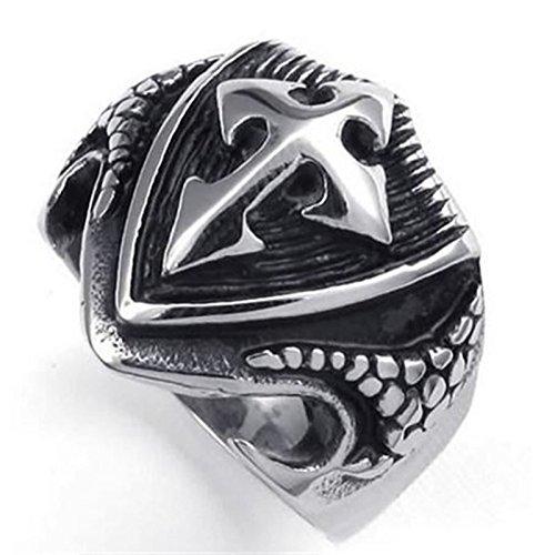 Beydodo Edelstahl Ring für Männer Schild Kreuz Punk Ring Silber Partnerring