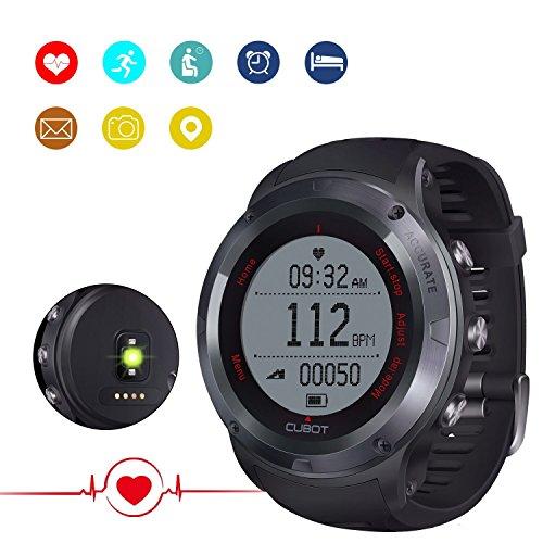 CUBOT F1 Unisex Fitness Armband Smartwatch mit Pulsmesser, Armband zur Herzfrequenz, Pulsuhr Aktivitätstracker, Wasserdicht IP67 - Schrittzähler, SMS, Anrufe, Trinken Wasser und Soziale Software Reminder, Kalorienzähler, Kamera-Fernbedienung, Musiksteuerung, Wecker, Stoppuhr, Fitnessaufzeichnung, Temperatur, Höhenlage, Schlafmonitor kompatibel mit iOS 8.0 oder höher und Android 4.3 oder höher (Standby-Zeit für 25-30 Wochentage)