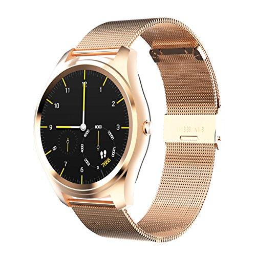 DIGGRO DI03 - Smartwatch mit Herzfrequenz Sensor (1,15 cm ultra dünn, IP67, Bluetooth Telefon, Benachrichtigung für SMS SNS Anruf, Pulsmesser Schrittzähler Kalorienzähler Schlafanalyse für IOS Android