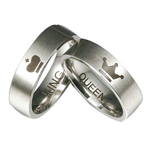 Epinki 2 Pcs Paare Ringe, Edelstahl King Queen Partnerringe Eheringe Bandringe Verlobungsringe