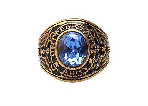 Epinki Edelstahl Ringe für Herren Gravierte Armee mit Blau Cubic Zirkonia Siegelring Herrenringe Freundschaftsringe Vintage