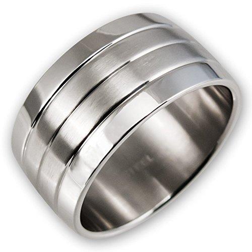 Fly Style Herren Damen Band-Ring Edelstahl breit silber risst016