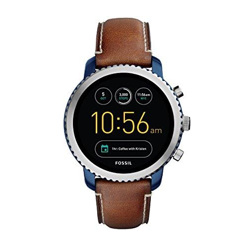 Fossil Herren Smartwatch Q Explorist 3. Generation - Leder - Braun / Klassische & elegante Smartwatch im Vintage Design mit vielen Funktionen & Features / Für Android & iOS