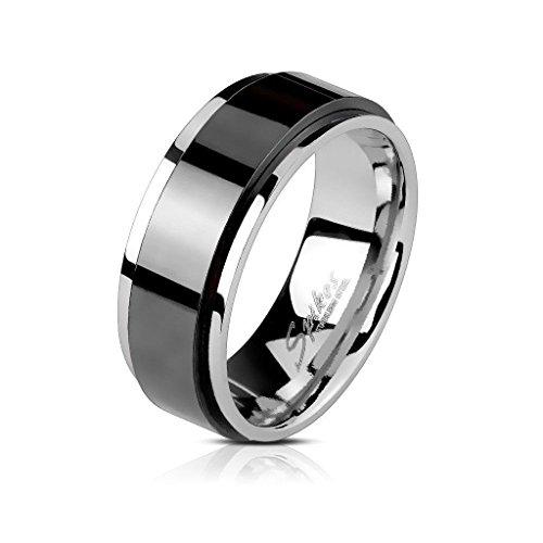 Herrenring Anti-Stress Ring Edelstahl schwarz & silberfarben – Drehring Spinner – silberfarben und schwarz für Männer Jungen – Herrenschmuck Trauring – in 4 Größen erhältlich