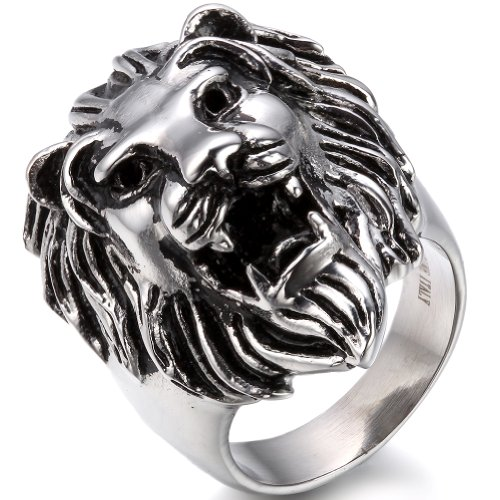 JewelryWe Schmuck Biker Herren-Ring, Edelstahl, Löwe, Farbe Silber Größe 54 bis 74