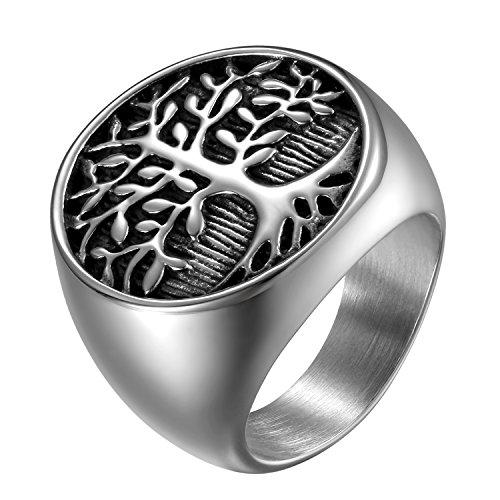 JewelryWe Schmuck Herren-Ring, Edelstahl Runden Siegelringe Baum des Lebens Lebensbaum Biker Ring, Silber Schwarz