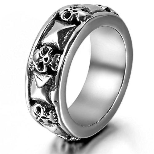 JewelryWe Schmuck Herren-Ring, Gotik Totenkopf Schädel Pyramide, Edelstahl, Schwarz Silber