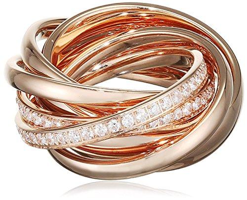 Joop! Damen 6er Ring Embrace Vergoldet Glas weiß rotgold JPRG10631C170