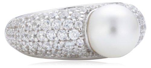 Joop Damen-Ring 925 Sterling Silber Michelle synth. Perle weiß Zirkonia-Pavée JPRG90645A5