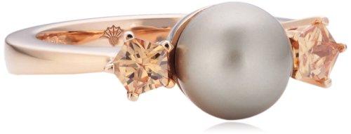 Joop Damen-Ring Silber vergoldet Perlmutt Zirkonia Gwyneth braun JPRG90593B5