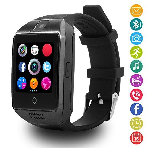 LATEC Bluetooth Smartwatch Unterstützt SIM-Karte & Kamera, Intelligente Armbanduhr Sport Uhr mit Schrittzähler Schlaftracker Remote Capture Anruf SMS Facebook Whatsapp Beachten für Android Smartphone