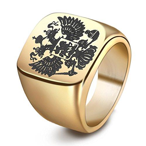 Männer Schmuck Titan Stahl Russische Emblem Double Eagle Logo Ringe