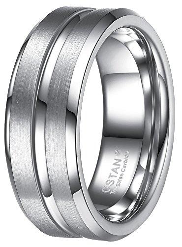 OSTAN Schmuck 8 MM Breite Wolframcarbid Herren Ring, Silber Gebürstet & Rille, Größe 54 bis 70