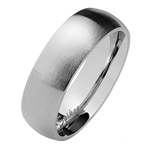 Paula & Fritz® silber matt poliert 4mm 6mm 8mm BREITE Edelstahlring Damen-ring Verlobungs-ring Freundschaftsring Herrenring Partnerring verfügbare Ringgrößen 47 (15) – 75 (24)