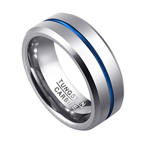 PiercingJ Herren Wolframcarbid Wolfram Ring Tungsten Ring Ehering Hochzeitsring Wedding Band Ring 8mm, silber+blau, Gr.57-67